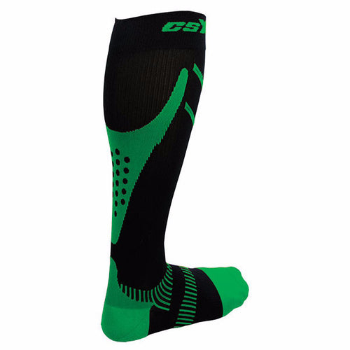 X200, 15-20 mmHg, Knee High, Compression Socks,Green on Black, Rear View