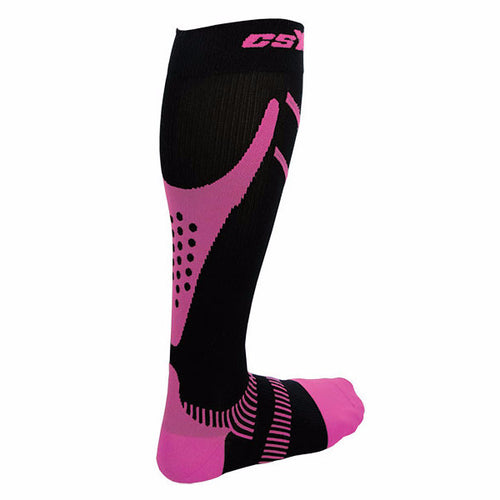 X220, 20-30 mmHg, Knee High, Compression Socks, Pink on Black, Rear View