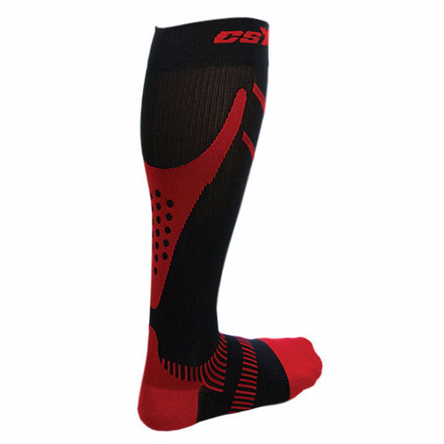 Rear View of CSX 15-20 mmHg Red on Black Compression Socks