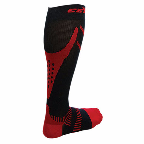 X220, 20-30 mmHg, Knee High, Compression Socks, Red on Black, Rear View