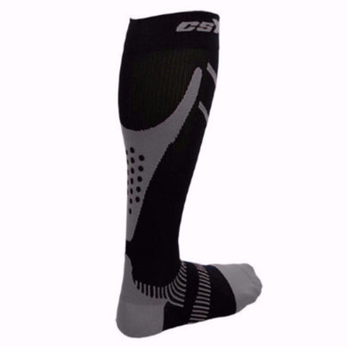 X200, 15-20 mmHg, Knee High, Compression Socks, Silver on Black, Rear View