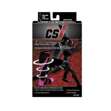 CSX 20-30 mmHg Pink on Black Compression Socks Packaging