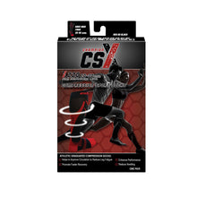 CSX 20-30 mmHg Red on Black Compression Socks Packaging