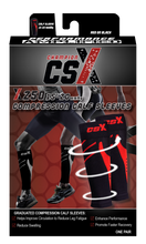 CSX 15-20 mmHg Red on Black Compression Calf Sleeves Package