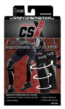 CSX 15-20 mmHg Silver on Black Compression Calf Sleeves Packaging