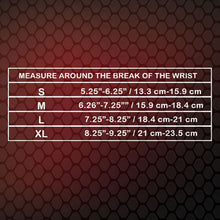 Top View of X632 Wrist Brace Size Chart