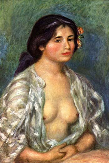 Buyenlarge Gabrielle with open blouse  - 12x18 Paper Poster By Pierre-August  Renoir at Sears.com