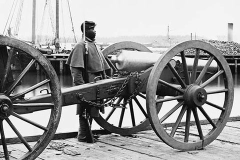 African American soldier Guards Artillery in the Civil War
