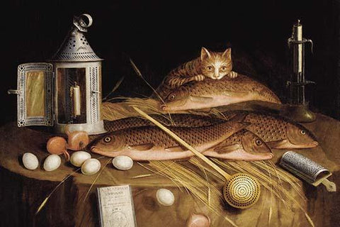 Kitchen Still Life with Fish and Cat