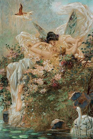 Two Fairies Embracing in a Landscape with a Swan