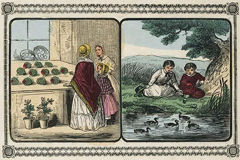 Women visit a shop that sells plants and boys by a pond count ducks.