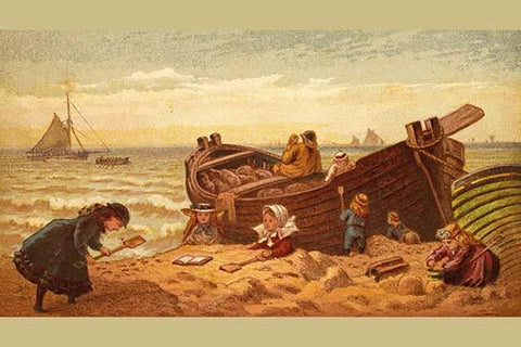 Children make piles of sand at the beach beisde a fisherman's rowboat