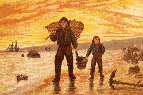 Fisherman & his son carry baskets on the beach past an anchor