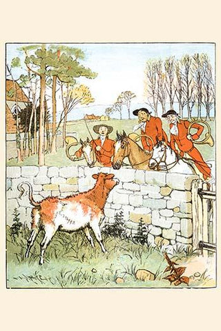 The Huntsmen looked over a stone wall at a cow