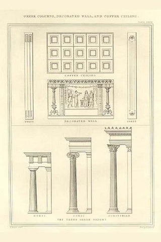 Greek Columns, decorated Walls & Coffer Ceilings