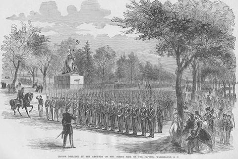 German Soldiers of the Steuben Regiment in Formation in front of New York City Hall