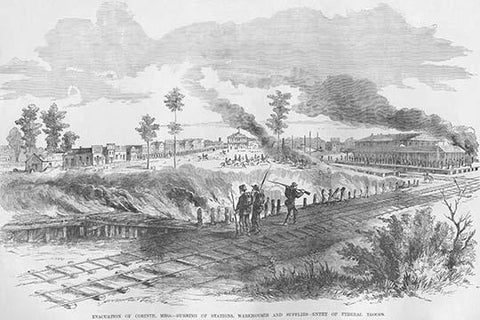 Evacuation of Corinth, Mississippi by Railroad Tracks; burning of Warehouses