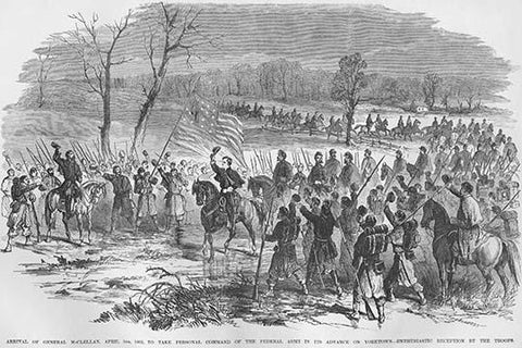 General McClellan arrives to take command of the Siege of Yorktown, Virginia