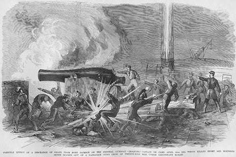 Grape Explosion from Fort Jackson creates havoc on Gunboat Iroquois