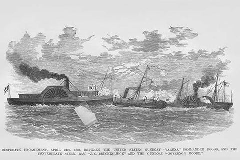 "Naval engagement between the Confederate ""J.C. Breckingridge"" and the USS Varuna"