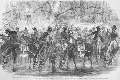 Negro Drivers with Pleasonton's Cavalry stop to water their horses in the Rappahannock