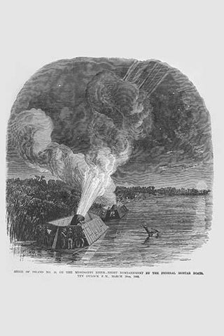 Siege of Island #10 on the Mississippi - Mortar Boat Bombardment