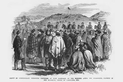 Confederate Prisoners Captured at Fort Donelson Clothed in Red Blankets