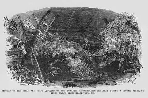 Bivouac of the 12th Massachusetts during a stormy night