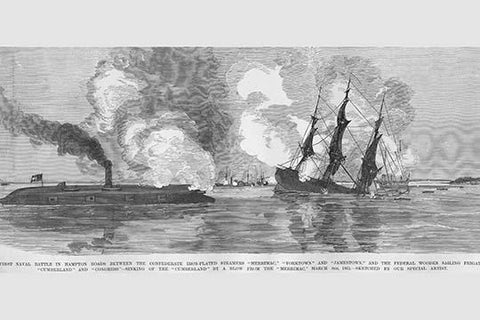 Sinking of the Cumberland at Hampton Roads by Confederate Ironclad