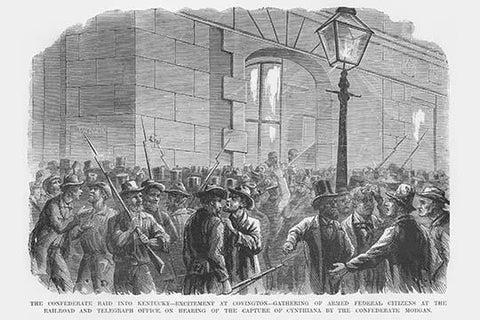 Mustering of Citizens at Railroad & Telegraph Office after Hearing about Morgan's Raid