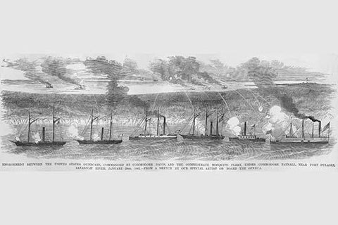 Commodore Davis' Fleet engage the Mosquito Fleet of Commodore Tatnall
