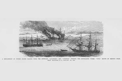 "Sailors from Gunboats ""Albatross"" & ""Gemsbok"" burn Contraband Vessel ""York"""