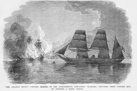 Confederate Captain Semmes burns a vessel from the Alabama