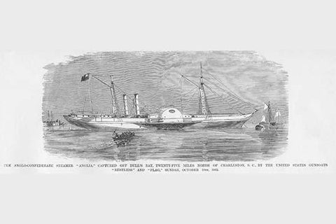 "Anglo Confederate Steamer ""Anglia"" captured off of Charleston"
