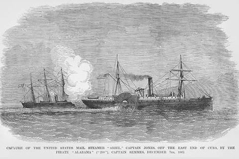 Confederate Admiral Semmes on the Alabama captures Steamer Ariel off of Cuba