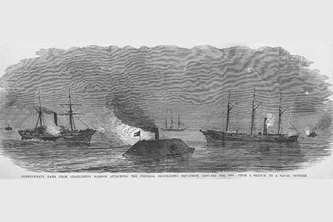 Confederate Rams attack Blockading Fleet at Charleston Harbor