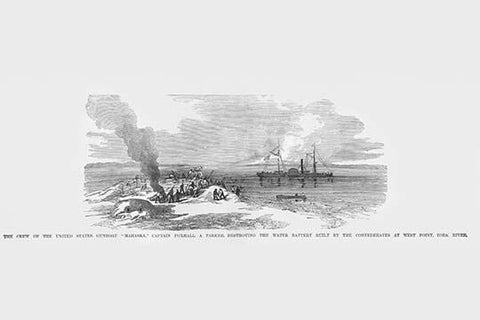 "Gunboat ""Mahaska"" destroys water battery at West Point, York River"