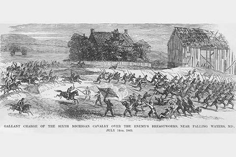 Michigan Cavalry Charges the enemy at Falling Waters, Maryland