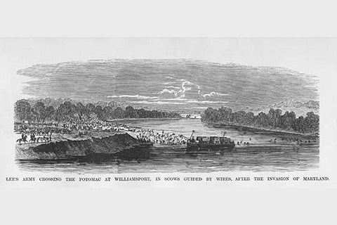 Lee's Army crosses the Potomac with scows guided by wires