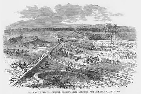 Hooker's Army marches past Manassas, Virginia