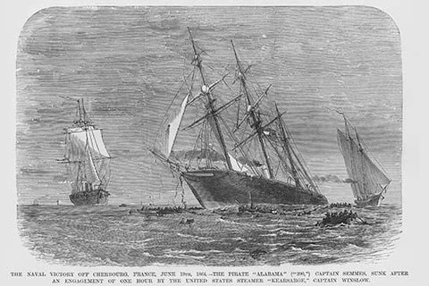 Admiral Semmes defeated in his Confederate Raider Alabama near Cherbourg, France by USS KEARSARGE