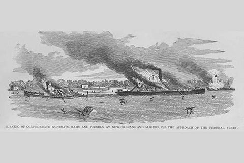 Burning Confederate Gunboats & Rams at New Orleans & Algiers