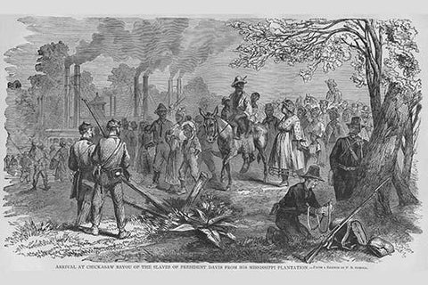 Jefferson David' slaves arrive at Chickasaw Bayou after escaping