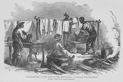Washerwoman and men in the Army of the Shenandoah
