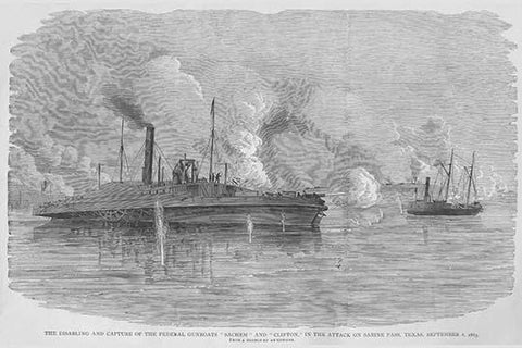 "Confederates at Sabine Pass capture s Federal Gunboats ""Sachem"" & ""Clifton"""