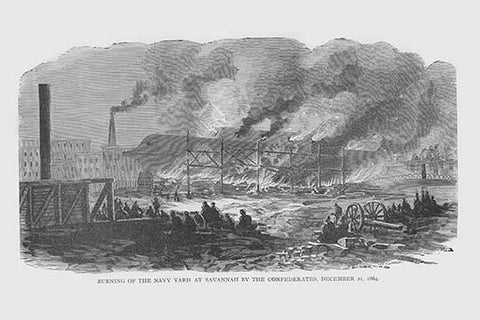 Confederates burn the Navy Yard in Savannah