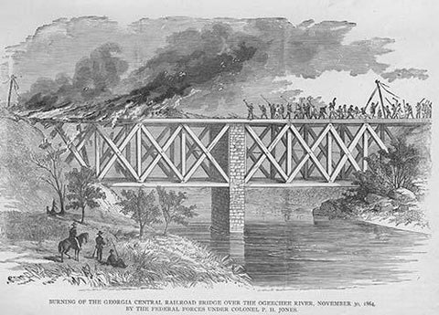Burning the Georgia Central Railroad Bridge over Ogeechee River by Federal Forces under Colonel Jones