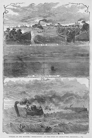 "Monitor ""Weehawken"" Sinks during the siege of Charleston"
