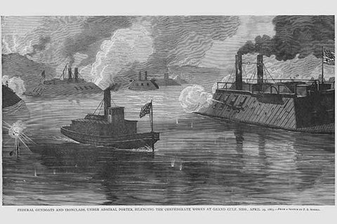 Federal Gunboats & Ironclads under Admiral Porter bombard Confederates at Grand Gulf Mississippi