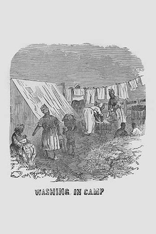 African Americans doing the laundry in camp
